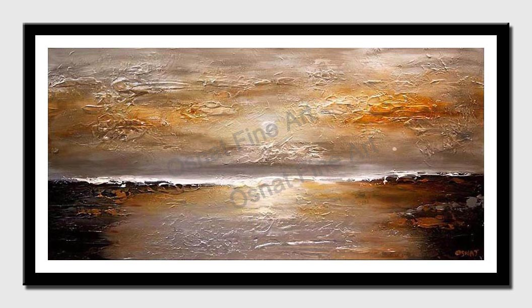canvas print of textured abstract silver copper sunset painting