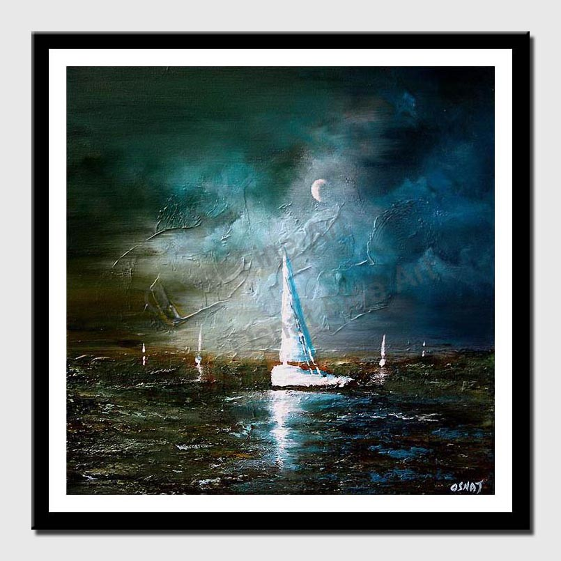 canvas print of moonlight sailing seascape painting