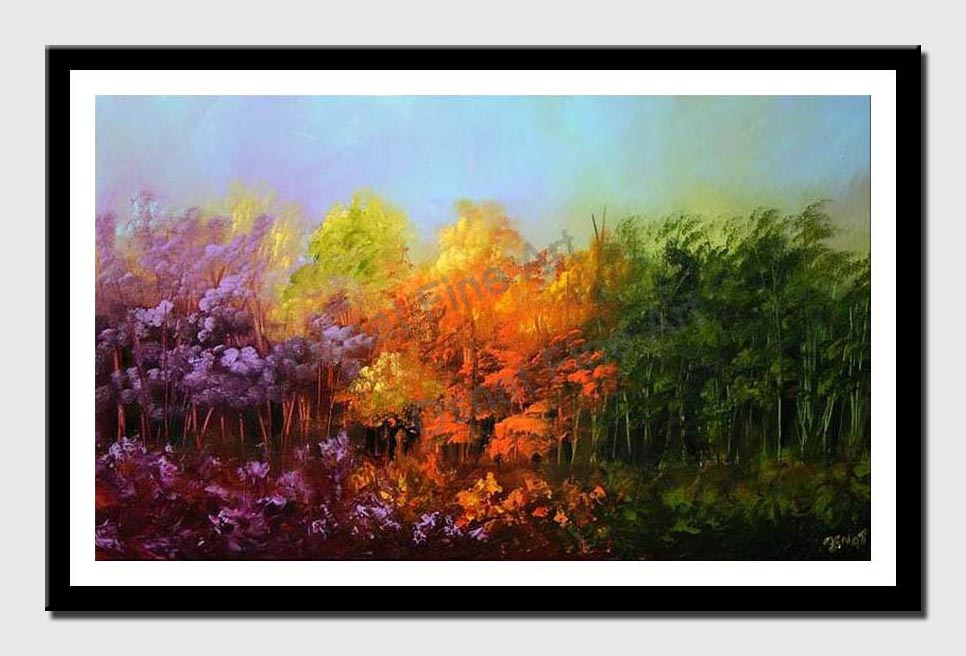 canvas print of colorful forest in lavender orange and green