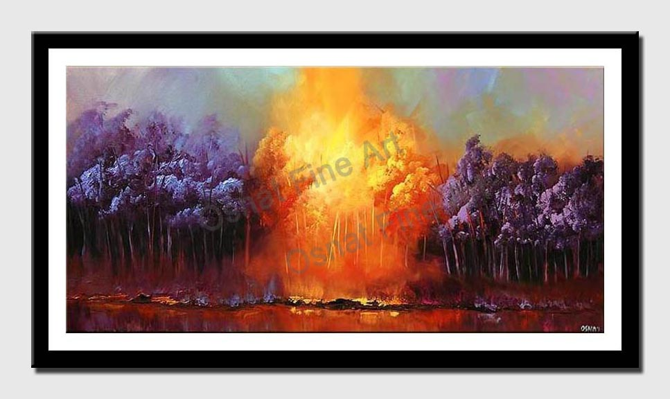 canvas print of abstract forest in purple and yellow