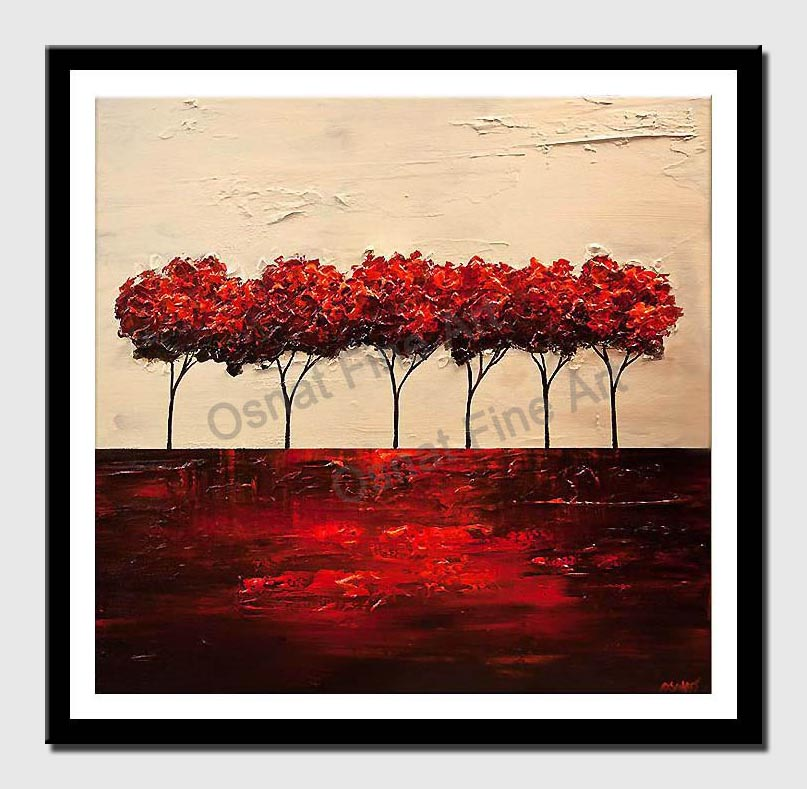 canvas print of red blooming trees abstract landscape painting