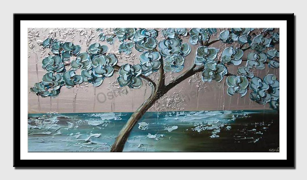 canvas print of flowering tree painting light blue silver palette knife