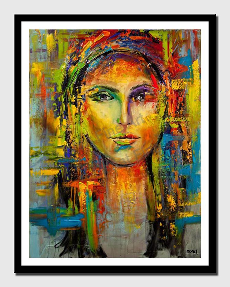 canvas print of colorful portrait painting modern palette knife