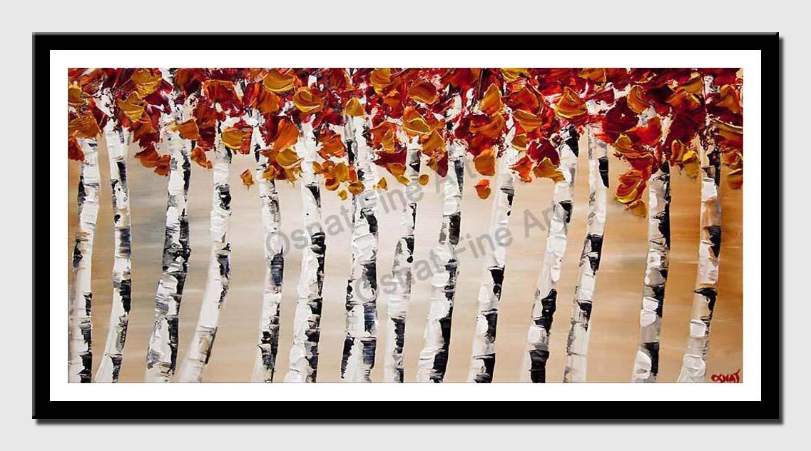 canvas print of blooming birch trees white abstract landscape textured