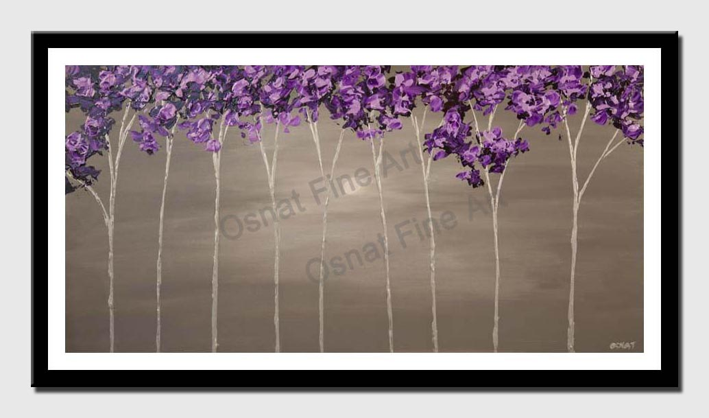 canvas print of purple blooming trees on silver background modern palette knife landscape painting