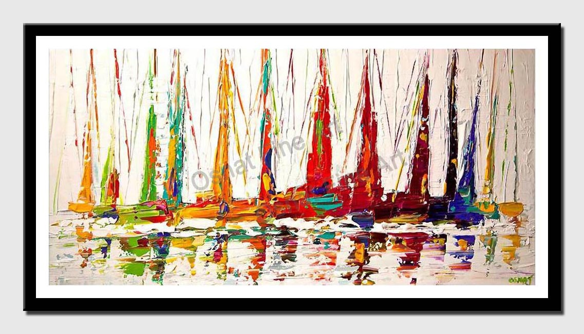 canvas print of colorful sailboats textured contemporary white abstract seascape painting