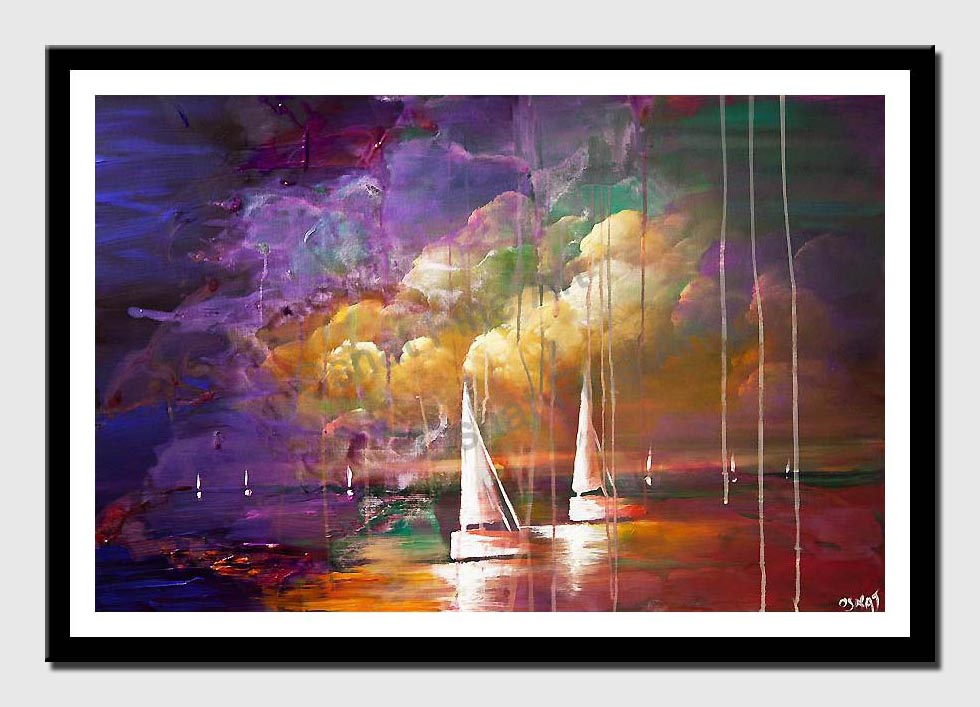 canvas print of colorful contemporary abstract sail boats painting