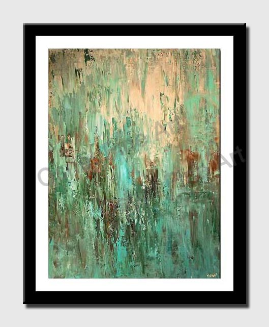 large contemporary turquoise abstract painting modern palette knife