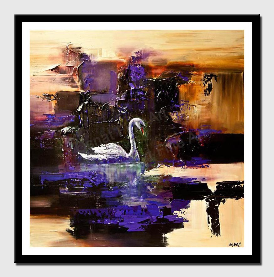 canvas print of swan painting heavy texture modern palette knife abstract