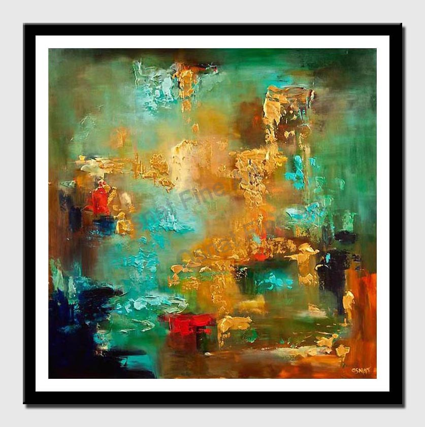 canvas print of large turquoise gold abstract painting heavy texture modern palette knife
