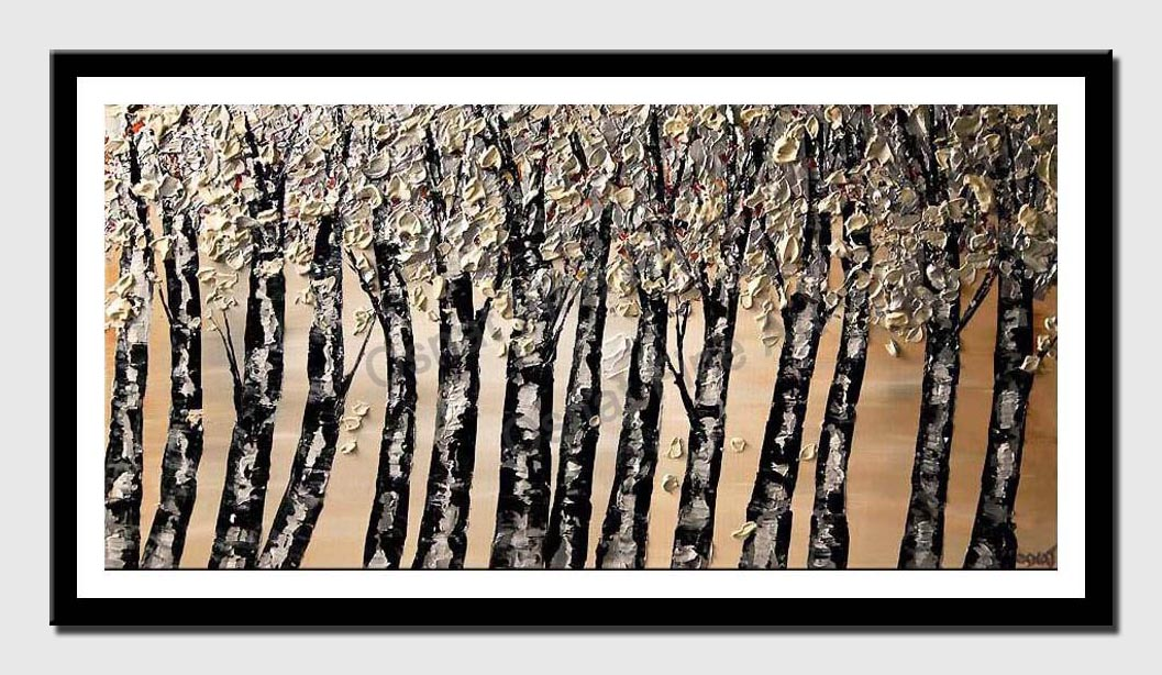 canvas print of black silver blooming tree abstract painting