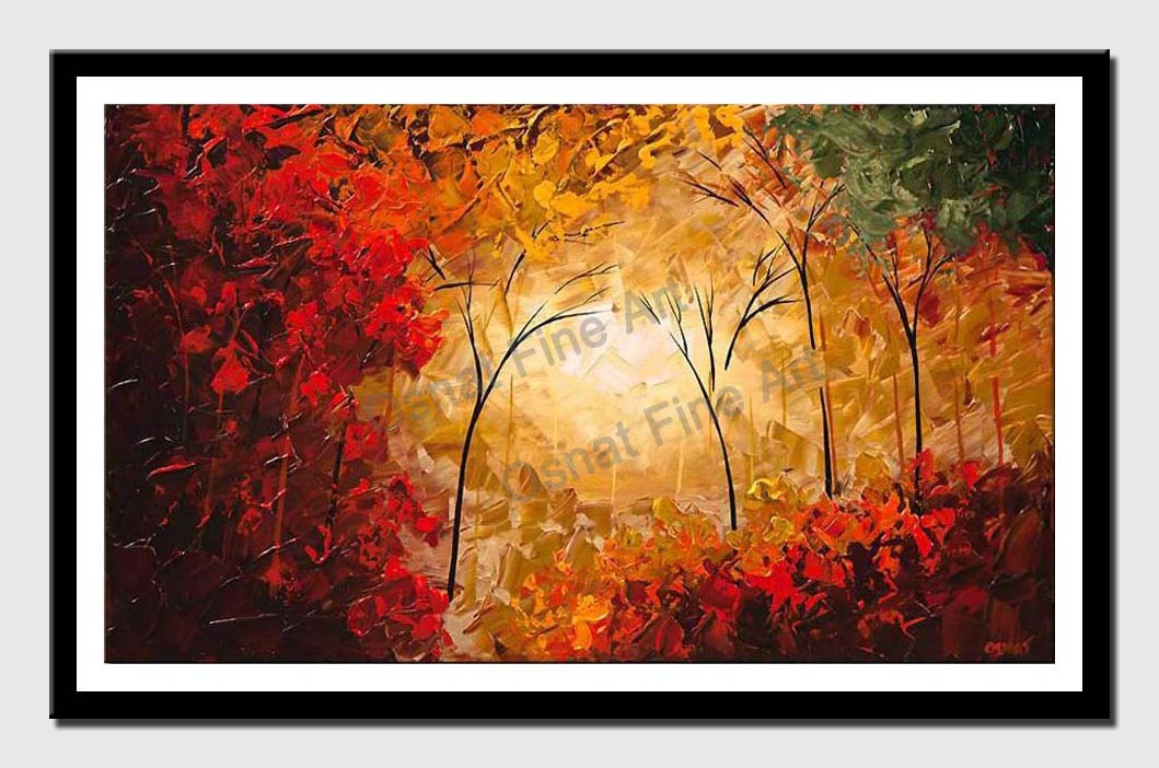 canvas print of original contemporary abstract landscape blooming trees modern palette knife