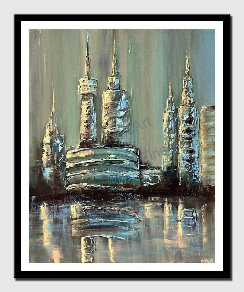 canvas print of blue cityscape abstract modern heavy impasto