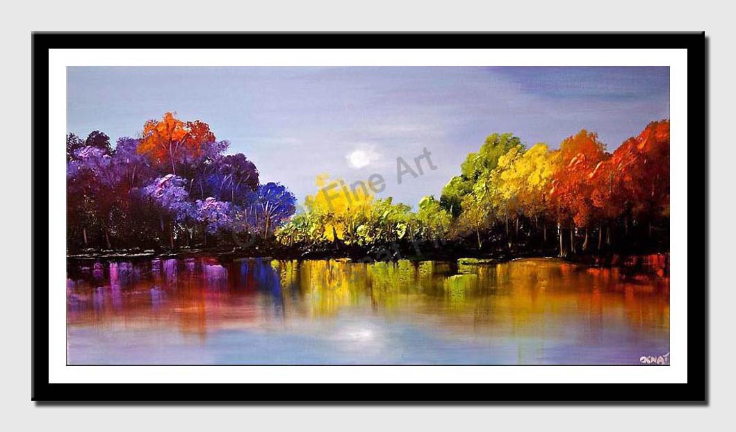 canvas print of modern colorful blooming trees textured painting