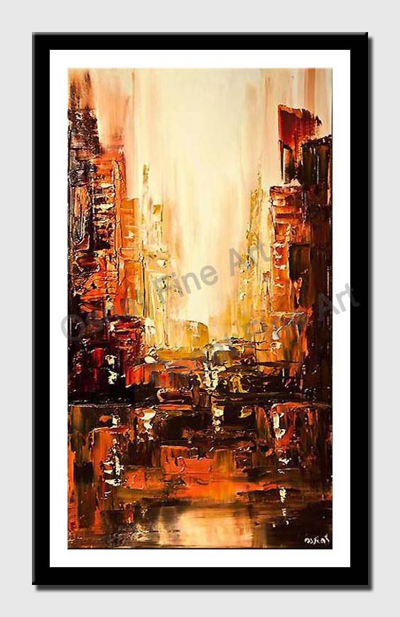 city painting orange brown city abstract textured painting