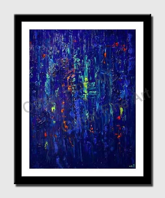 canvas print of blue textured abstract painting modern palette knife