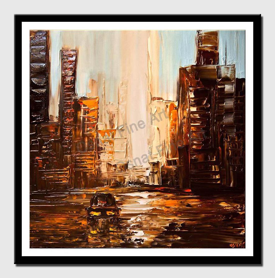 city painting textured abstract city painting