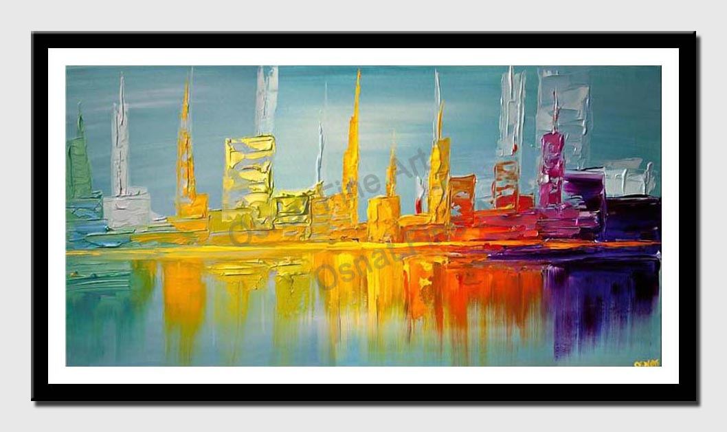canvas print of city shore line abstract painting modern palette knife