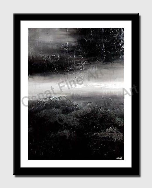 canvas print of black white textured abstract storm painting