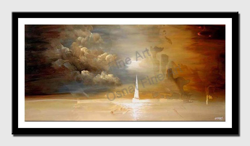 canvas print of small sailboat seascape