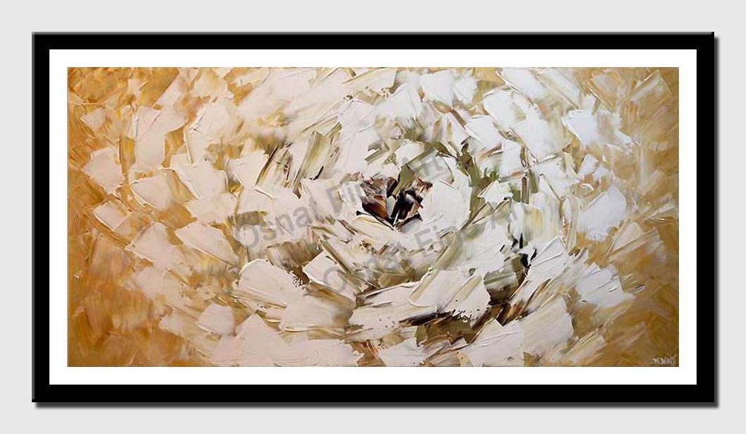 canvas print of white flower modern palette knife