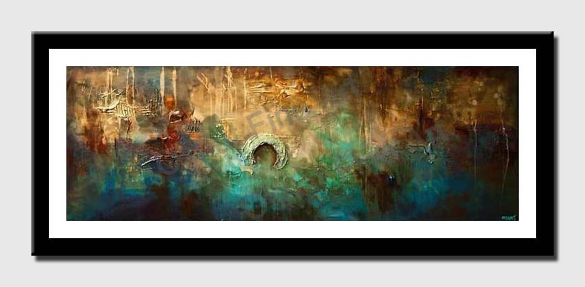 canvas print of blue rust contemporary abstract painting textured
