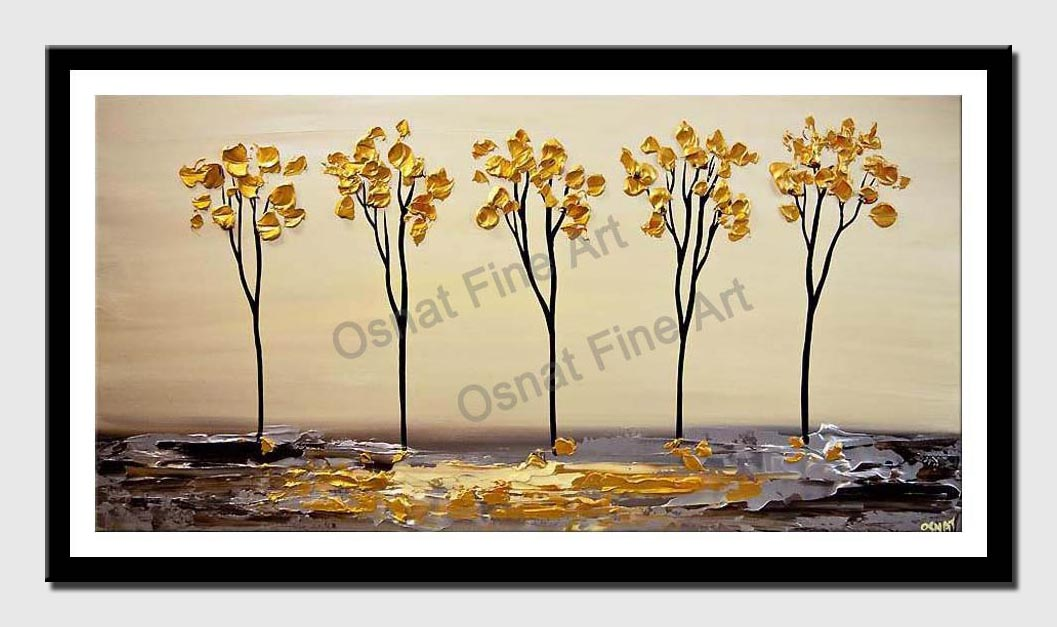 canvas print of golden blooming trees on silver abstract landscape painting textured