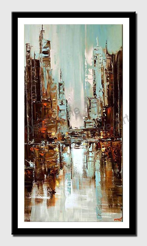 canvas print of contemporary original abstract city painting light blue textured palette knife paint