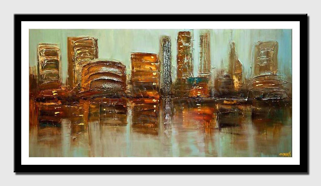 canvas print of modern palette knife city abstract painting