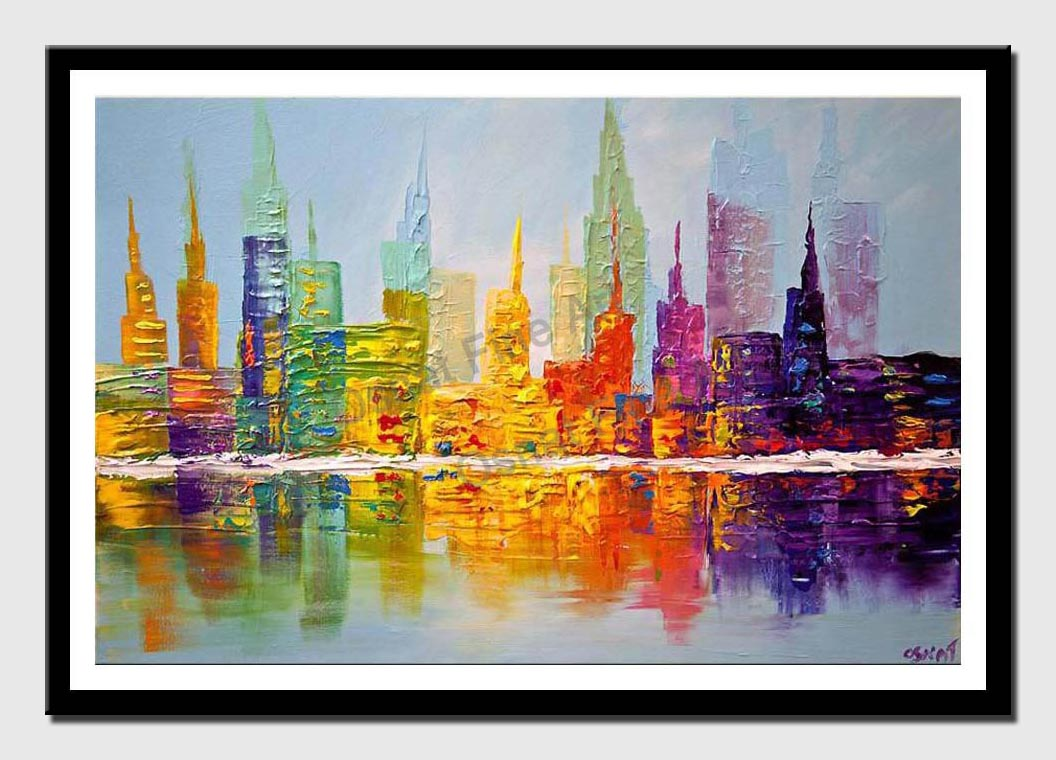 canvas print of colorful city art modern palette knife abstract city