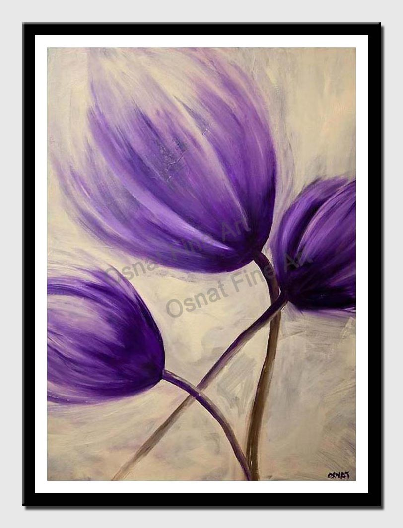canvas print of purple tulip flower abstract painting