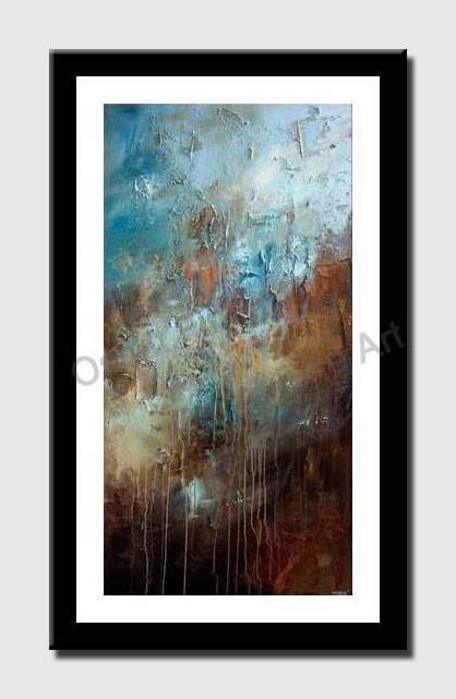 canvas print of large textured blue brown abstract art