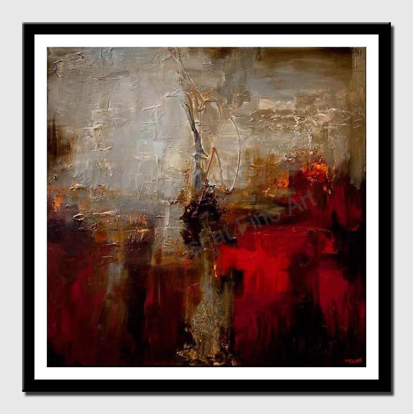 canvas print of white red contemporary abstract painting