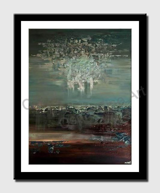 canvas print of teal brown contemporary abstract painting
