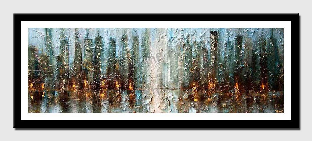 canvas print of original contemporary abstract city painting modern palette knife