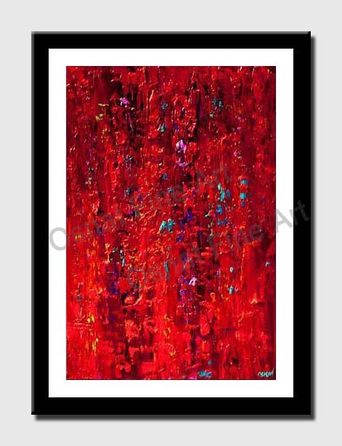 canvas print of original contemporary red abstract painting modern palette knife red acrylic abstrac