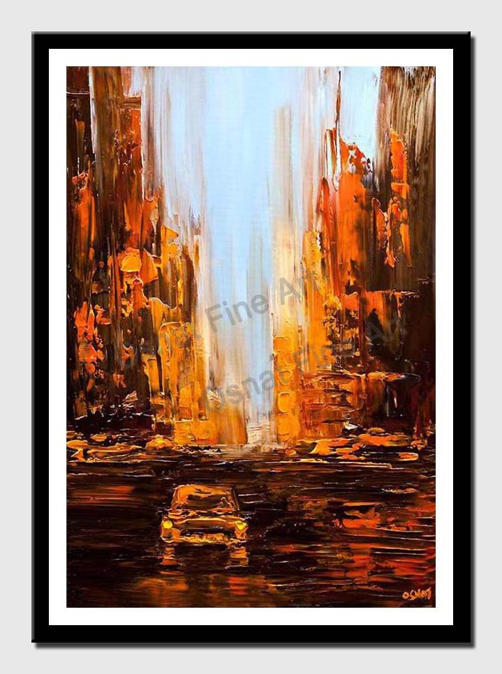 canvas print of taxi painting city abstract art textured