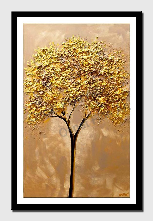 canvas print of original modern gold tree painting textured