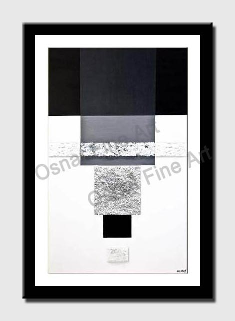canvas print of black white modern abstract painting modern palette knife
