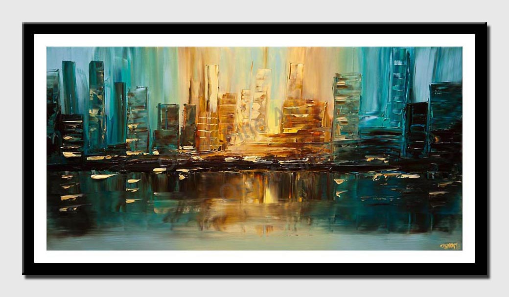 canvas print of teal city abstract painting