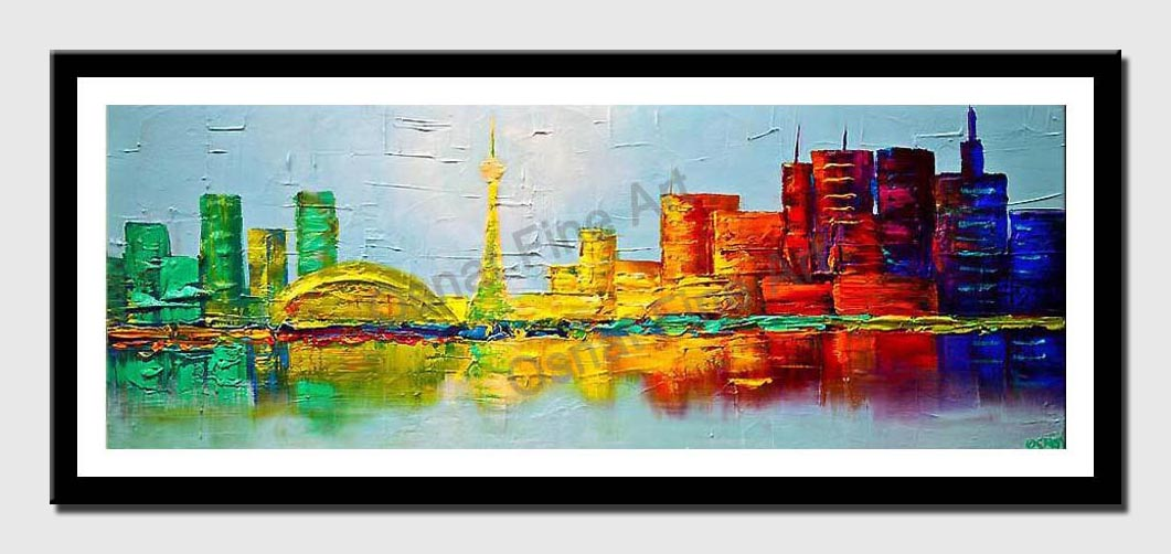 canvas print of Toronto skyline painting original abstract city painting
