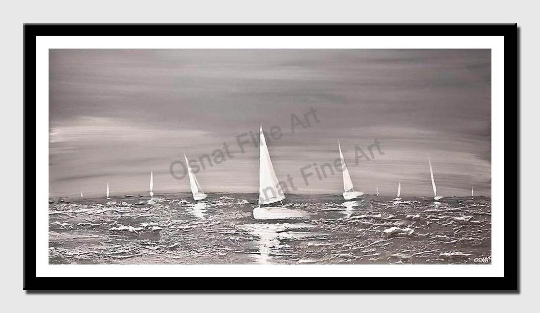 canvas print of silver seascape painting modern texture abstract art