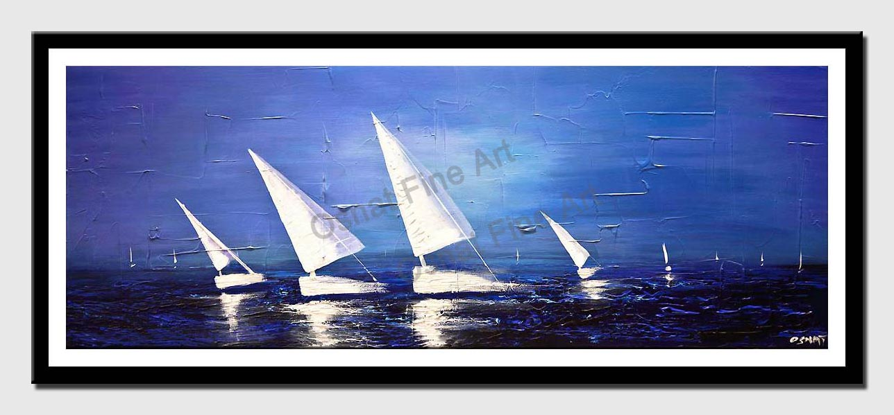 canvas print of white sailboats blue sea abstract painting