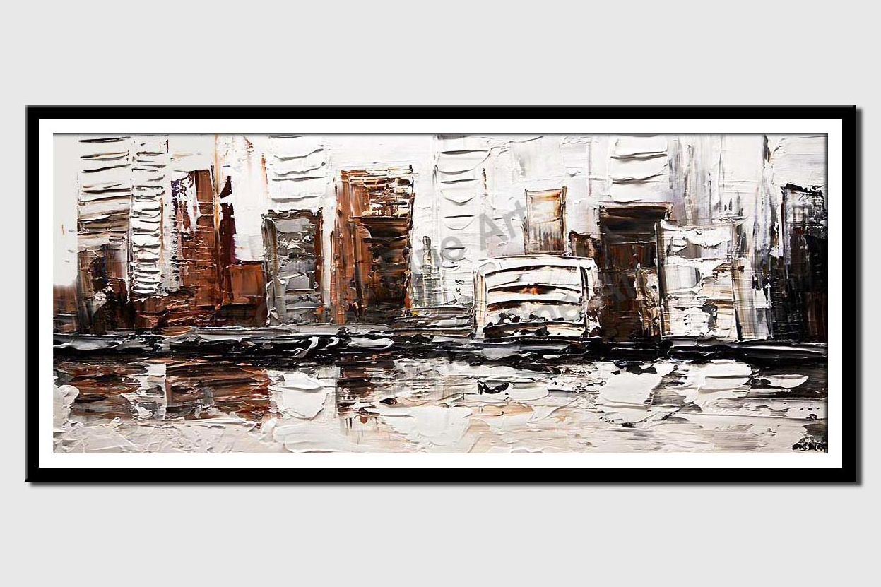 canvas print of the white house city painting heavy texture white black bronze silver