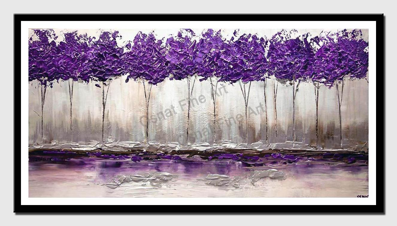 canvas print of purple trees painting textured silver modern palette knife home decor