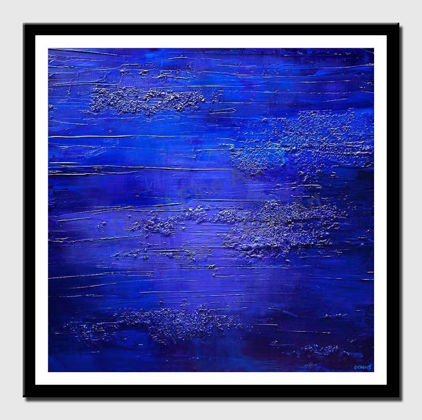 canvas print of blue textured abstract painting home decor art deco