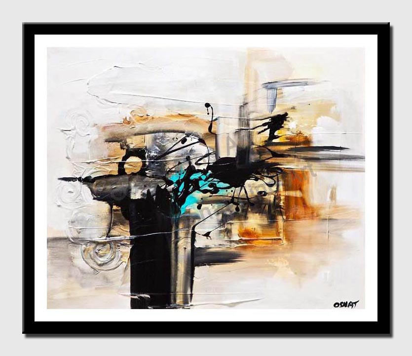 canvas print of white black abstracrt painting home decor