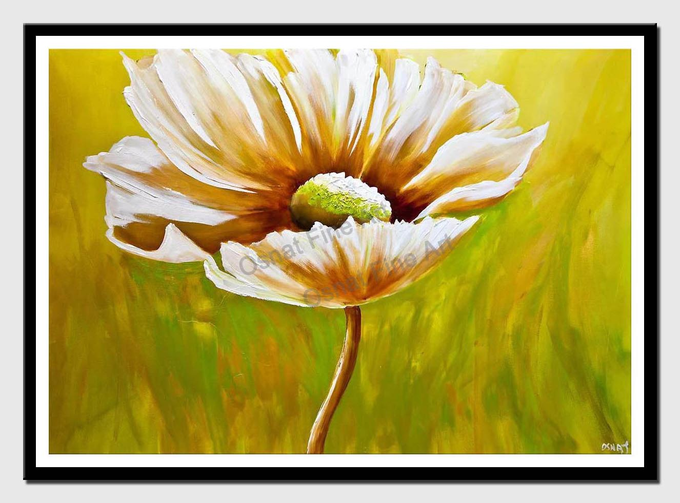 canvas print of Abstract Daisy flower painting green