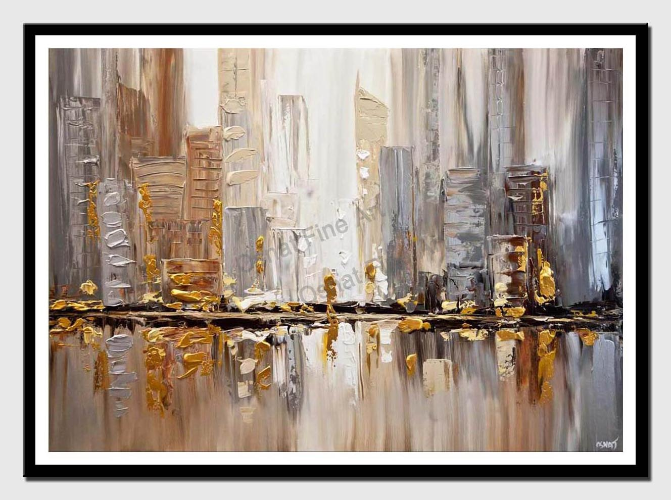 canvas print of original gold silver cityscape painting modern palette knife