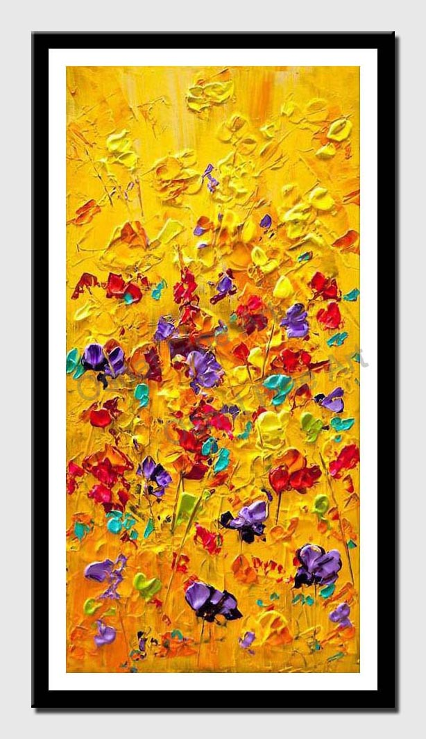 canvas print of colorful floral painting modern palette knife heavy texture wall decor